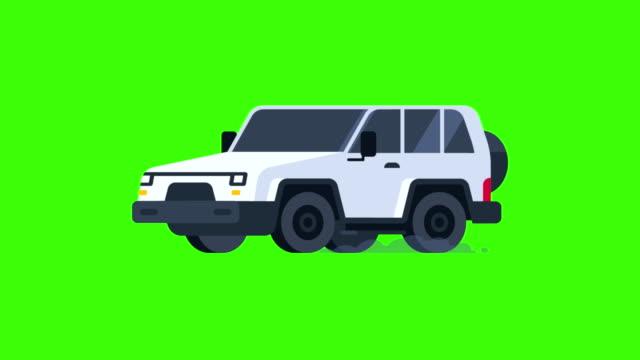 jeep-metallic-farbe-fahrten. transparenten hintergrund. - drive illustration stock-videos und b-roll-filmmaterial