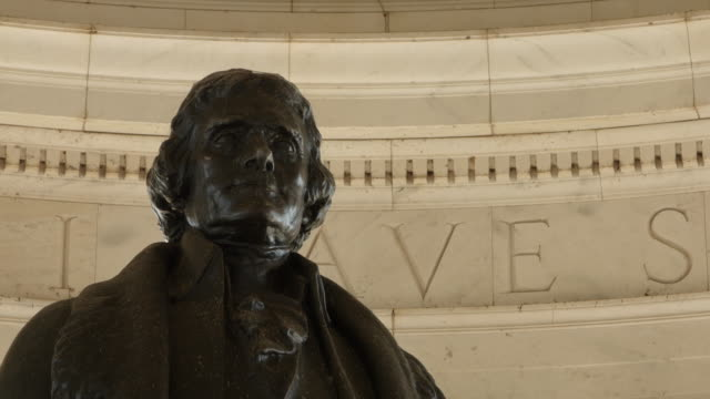 Jefferson Memorial Rack focus on statue of Thomas Jefferson at the Jefferson Memorial in Washington D.C. statue stock videos & royalty-free footage