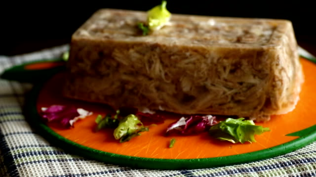 jellied jelly meat jellied jelly meat on a black background jello stock videos & royalty-free footage