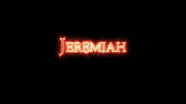 jeremiah written with fire. loop - ветхий завет стоковые видео и кадры b-roll