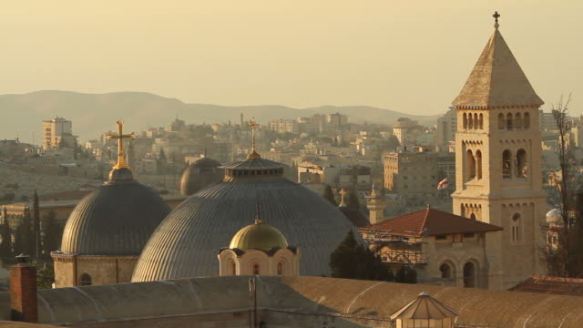 Jerusalem Churches with the West Bank in background video