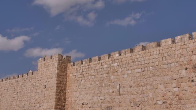 エルサレム旧市街の壁,エルサレム旧市街の壁の眺め,広角,パノラマ,4kビデオ,イスラエル - 石垣点の映像素材/bロール
