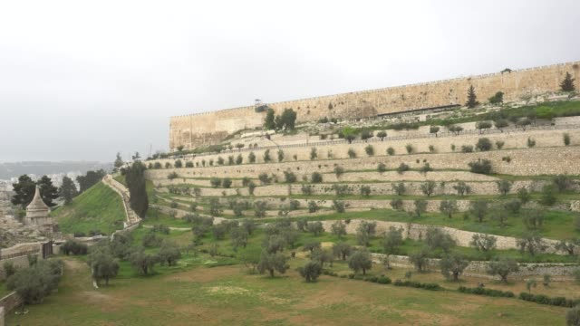 Jerusalem. Panorama of the fortress wall of the old town video