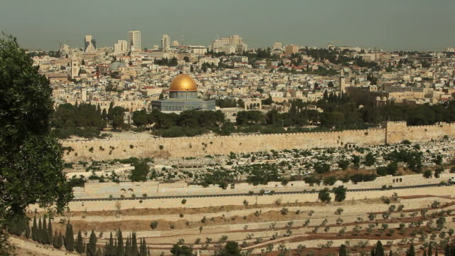 Jerusalem Skyline and Golden Dome of the Rock in Israel video