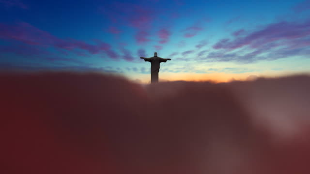 Jesus Christ above clouds at sunset, 4K Jesus Christ above clouds at sunset, 4K ghost icon stock videos & royalty-free footage