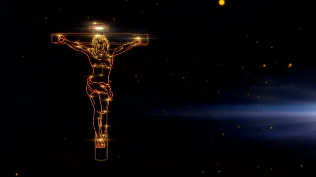 Jesus Christ on Cross being drawn with lights video