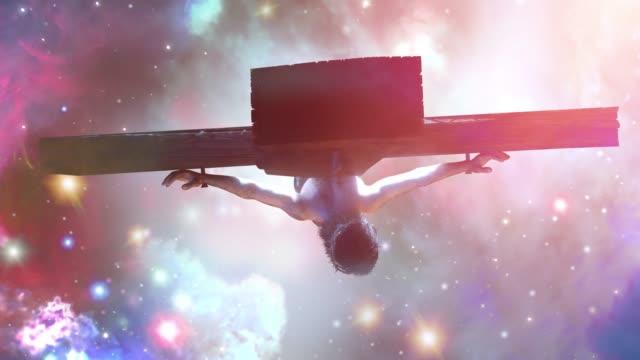 jesus kristus på korset, 3d render - 4k upplösning bildbanksvideor och videomaterial från bakom kulisserna