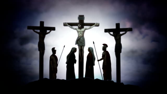 jesus christ on the cross crucifixion  calvary dramatic animation - god stock videos & royalty-free footage