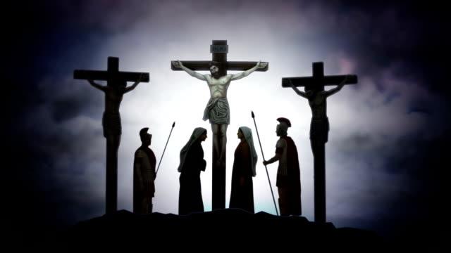 jesus kristus på korset kors fästelsen golgata dramatisk animation - gud bildbanksvideor och videomaterial från bakom kulisserna