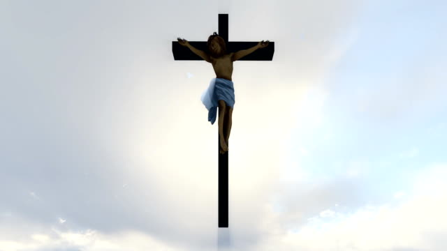 Jesus cross against heavenly white sky with pigeons flying video