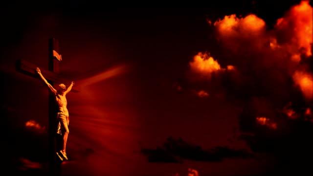 Jesus cross at sunset video