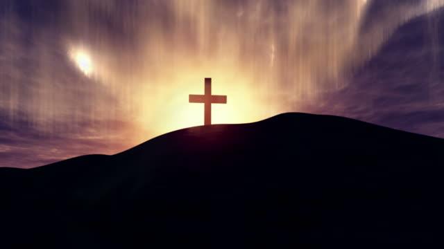 jesus kreuz - kreuz religiöser gegenstand stock-videos und b-roll-filmmaterial