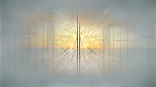 Jesus in Heaven Out of body experience starting with a dark tunnel and ending at the Pearly Gates of heaven with a vision of Jesus in the clouds gate stock videos & royalty-free footage