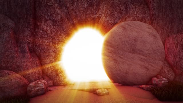 jesus är uppstånden törnekrona golgata kulle kristus korsfästes påsk golgotha sten smörjelse jesus grav - ljus på grav bildbanksvideor och videomaterial från bakom kulisserna