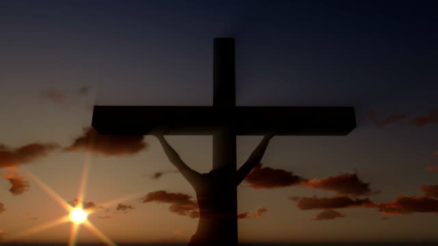 Jesus on Cross, close up, timelapse clouds at sunset video