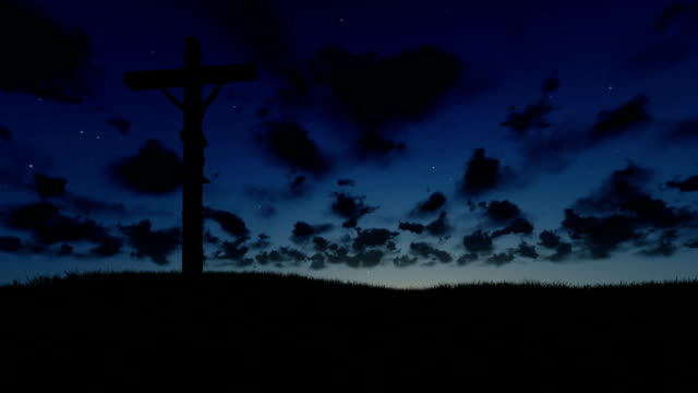 Jesus on Cross, meadow and time lapse night to day video
