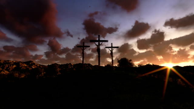 Jesus on Cross, meadow with olives, time lapse sunrise video