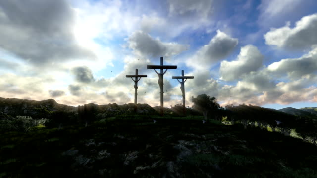 Jesus on Cross, meadow with olives, time lapse sunset video