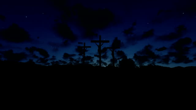Jesus on Cross, meadow with olives, timelapse sunrise video