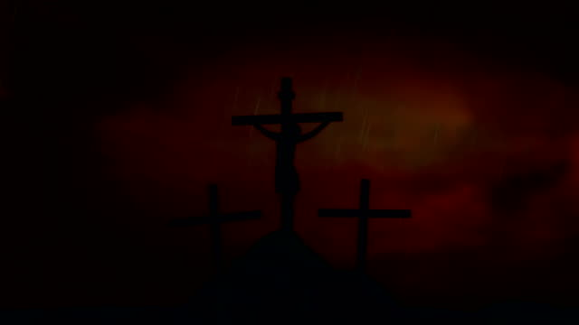 Jesus on the Cross Under a Lightning Storm and Rain video