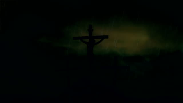 Jesus on the Cross Under a Storm and Rain video