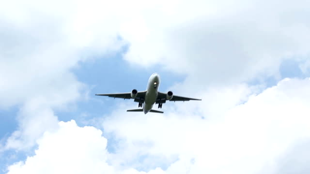 jet airplane flying over head video