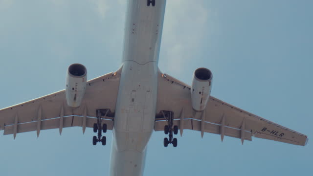 Jet airplane flying overhead video
