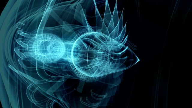 Jet engine 3D x-ray blue transparent isolated on black video