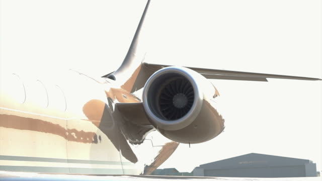 Jet Engine. Commercial airliner taxiing on the tarmac. Detail of jet engine video