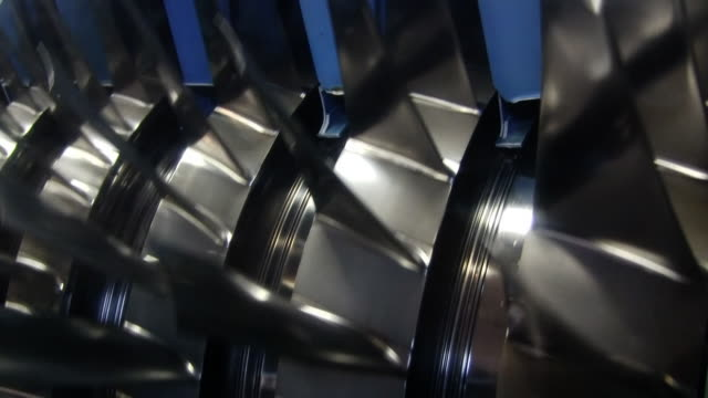 Jet engine turbine cut open HD video video