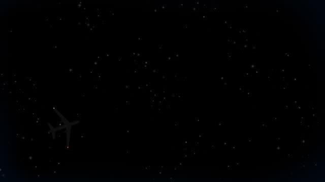 vídeos de stock e filmes b-roll de jet voar através do céu nocturno (hd loop - plano picado