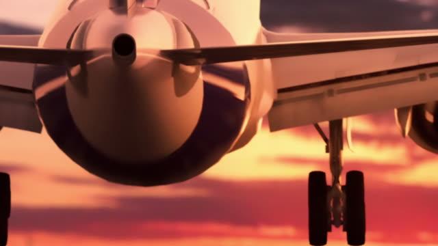 Jet Landung bei Sonnenuntergang – Video