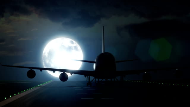 Jet plane departs from airport runway in full moon video