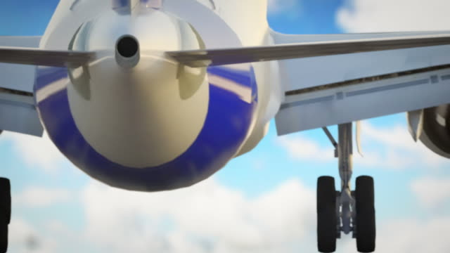 Jet plane landing with blue sky and fluffy clouds video