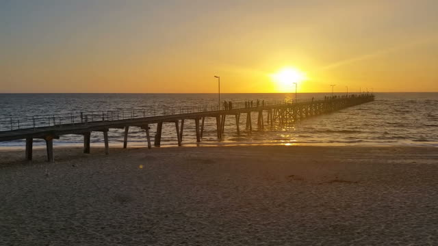 Jetty Sunset over ocean South Australia video
