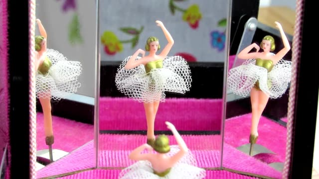 Jewellery box ballet dancer reflected in mirrors. Video.