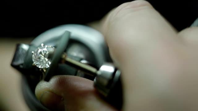 Jewelry Making Setting a Stone Making a diamond wedding ring diamond stock videos & royalty-free footage