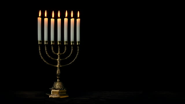 Jewish Menorah Candle Holder On Table