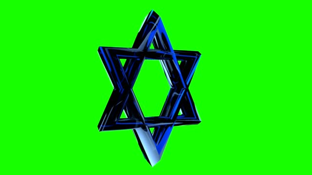 vídeos y material grabado en eventos de stock de estrella judía, david estrella gira sobre un fondo verde. pantalla verde alfa - jánuca