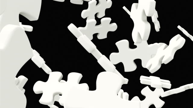 Jigsaw falls apart and one of its puzzle piece fills the screen. Loop ready animation with mask included. Loop ready animation with mask included. morality stock videos & royalty-free footage