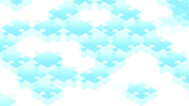 vídeos de stock e filmes b-roll de jigsaw puzzle 3d isometric virtual assemble moving blue color illustration on white background, seamless looping animation 4k with copy space - quebra cabeças