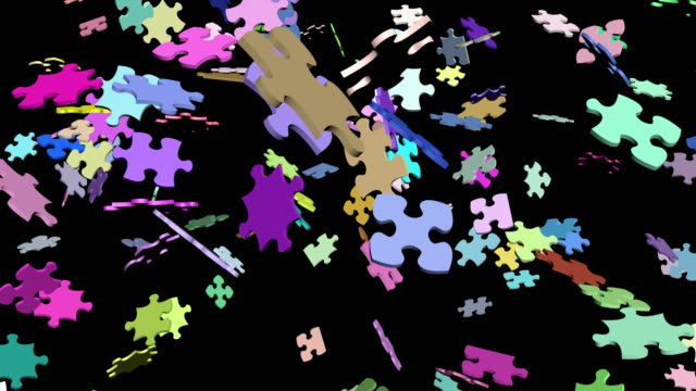 Jigsaw puzzle assembling 3d footage. Diverse matching pieces connecting abstract animation. Multicolor puzzle floating pieces joining isolated on black background. Problem solving metaphor Jigsaw puzzle assembling 3d footage. Diverse matching pieces connecting abstract animation. Multicolor puzzle floating pieces joining isolated on black background. Problem solving metaphor mosaic stock videos & royalty-free footage