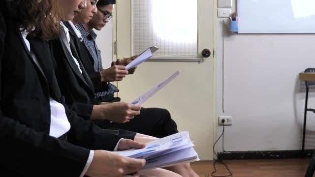 job interview, waiting - indennità video stock e b–roll