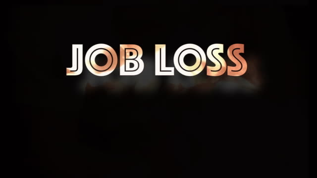 Job loss economic instability Covid19 computer graphic This computer generated graphic shows the words 'Job Loss'.   Following the outbreak of the global Pandemic Covid-19 (Coronavirus disease), lockdown and self isolation ensued resulting in businesses closing and high unemployment.   The letters contain fire and shake like an earthquake.  Set on a black background with copy space. foreclosure stock videos & royalty-free footage