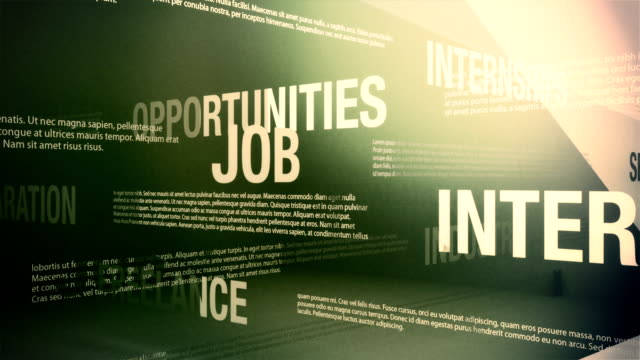 Job Search Related Words Background Loop Looping animation of several job search related words and concepts slowly sliding and crossing one another in an abstract but formal looking environment. employment and labor stock videos & royalty-free footage