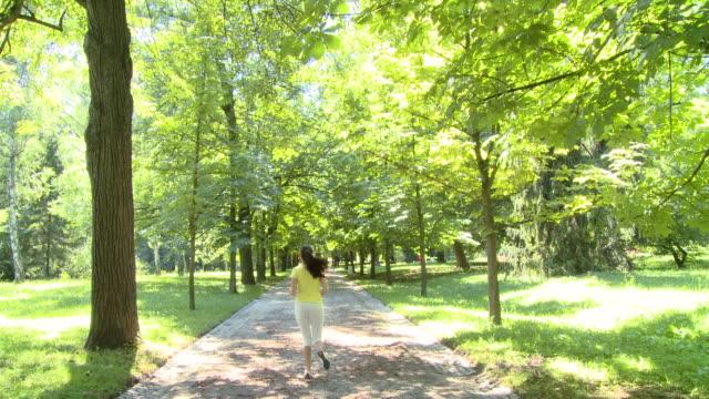 gru hd: fare jogging nel parco - 20 o più secondi video stock e b–roll