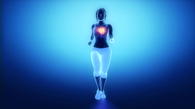 Jogging woman with heart scan in slow motion video