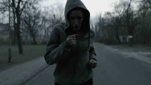 Jogging workout in abandoned property video