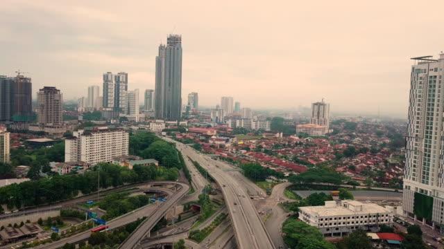 Johor Bahru city aerial view, Malaysia Sunrise city skyline of JB city johor bahru stock videos & royalty-free footage