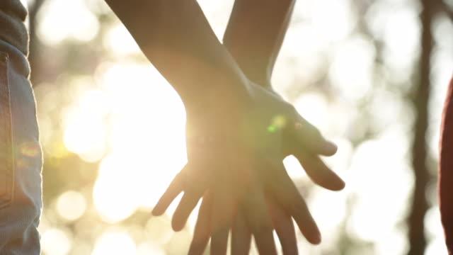 unire le mani insieme al parco con il bagliore della luce del sole sullo sfondo. concetto di amore, affetto, amicizia e unione - fidanzato video stock e b–roll
